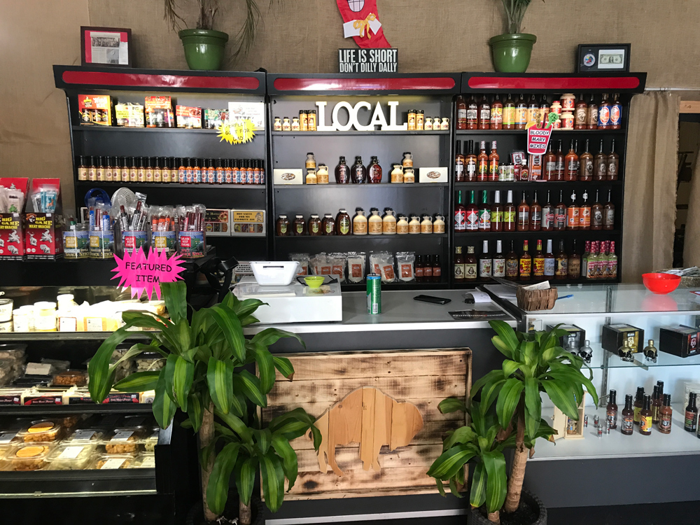 Local products stand at Dilly Dallies Store